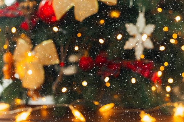 Bokeh von weihnachtsbaum weihnachtshintergrund bokeh lichter
