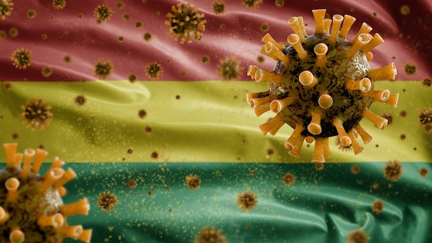 Bolivianische wellenflagge und coronavirus-mikroskopvirus