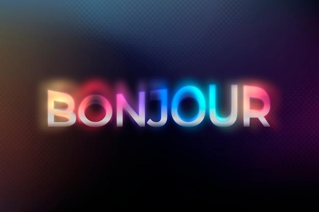 Bonjour-wort in bunter psychedelischer neonschrifttypografieillustration