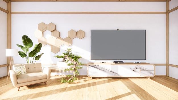Bonsai-baum auf kabinett aus holz auf wandraum zen-stil und dekorationsholzdesign, erdton.