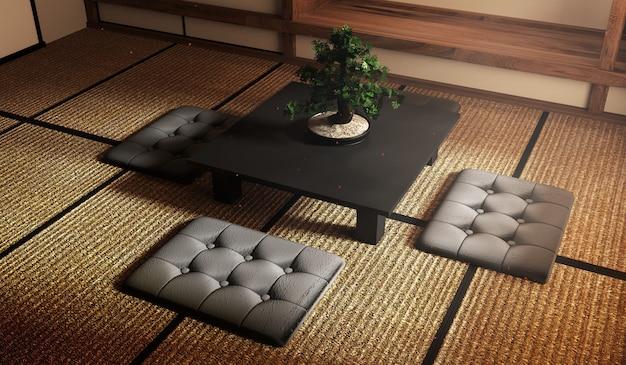 Bonsai-baum auf schwarzem niedrigem tisch und kissen auf tatami-matte gestaltung des schönsten. 3d