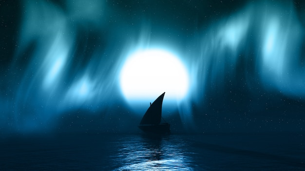 Boot silhouette auf dem meer