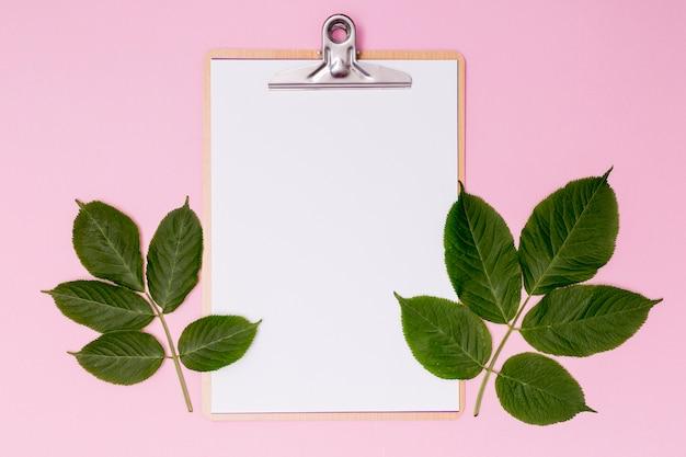 Botanisches dekor mit leerem klemmbrett