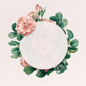 Botanisches rundes abzeichen mit rosa rosenrahmen
