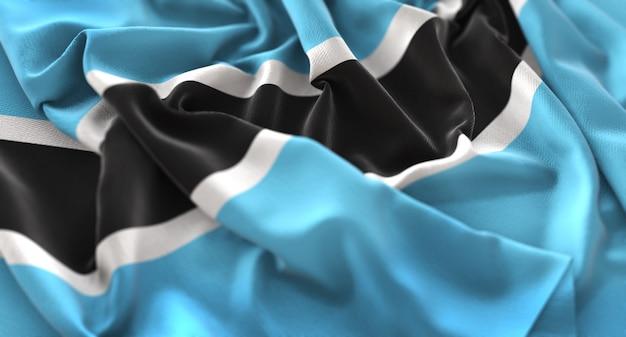 Botswana-flagge gekräuselt wunderschönes makro-nahaufnahmen