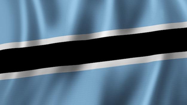 Botswana-flagge wehende nahaufnahme 3d-rendering mit hochwertigem bild mit stoffstruktur