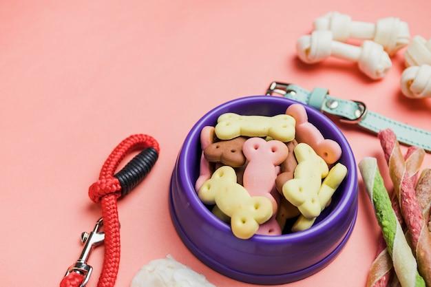 Bowl mit hund trockenen snacks
