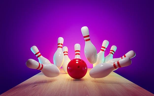Bowling strike - ball schlägt stifte in der gasse