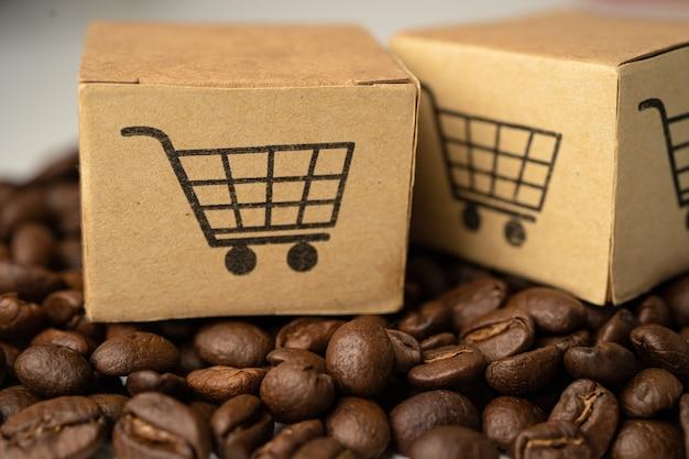 Box mit einkaufswagen-logo-symbol auf kaffeebohnen import export online-shopping