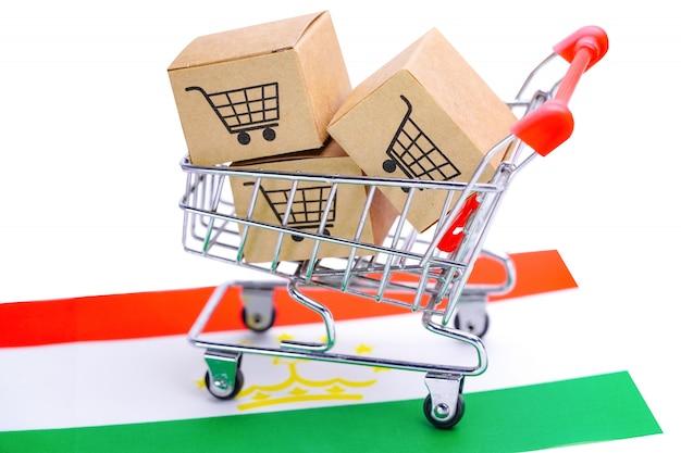 Box mit einkaufswagen und tadschikischer flagge