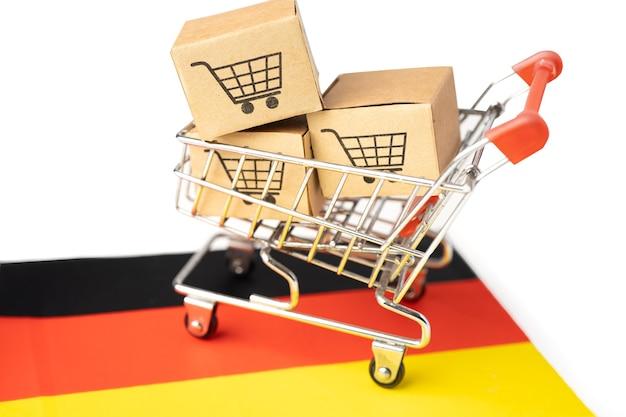 Box mit warenkorb-logo und deutschlandflagge