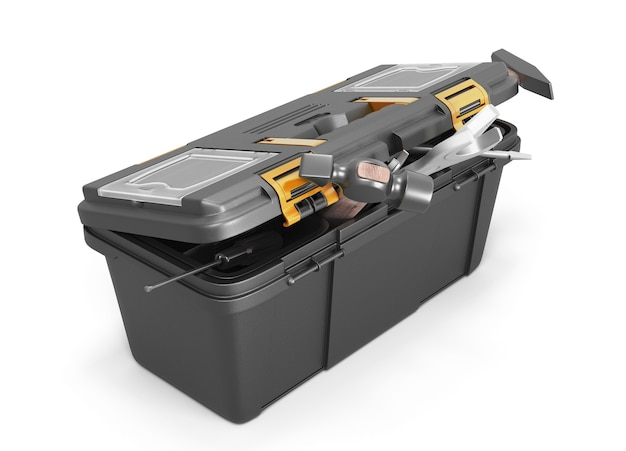 Box mit werkzeugen auf einer weißen backgrpund-3d-illustration
