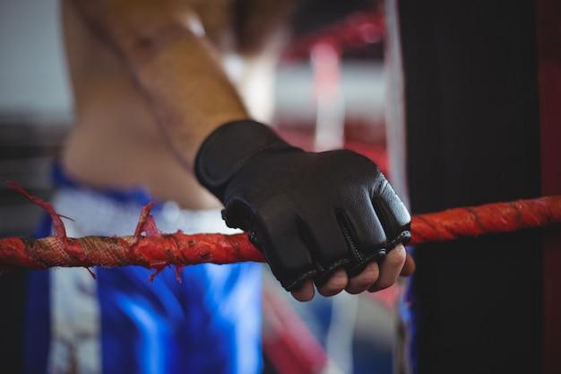 Boxer hält ein seil