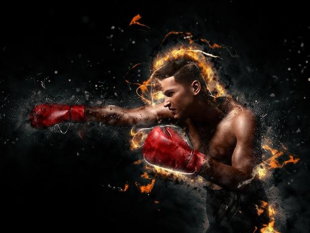 Boxer in einer welle aus rauch und feuer