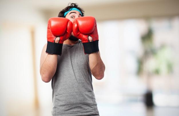 Boxer mit globen