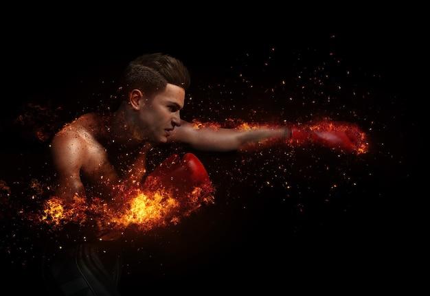 Boxer mit handschuhen auf feuer und partikel