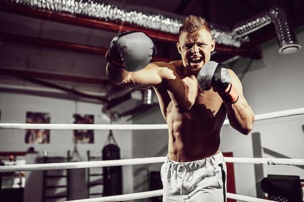 Boxer. überzeugter junger boxer auf dem boxring