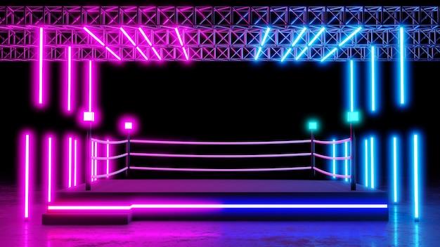 Boxring mit neonbeleuchtung hintergrund mit leerer plattform für konzert oder produktplatzierung. 3d-rendering.