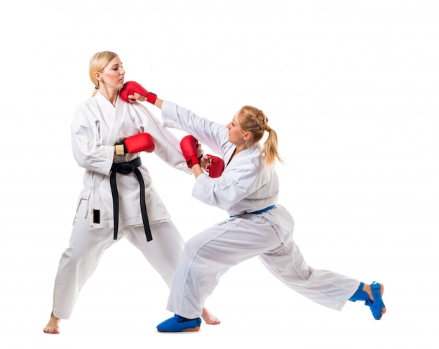 Boxtraining zwei junge frauen auf weiß