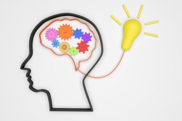 Brain 3d und getriebe für eine gute idee konzept mechanismus licht wanne