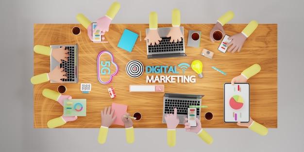 Brainstorming-analyse des geschäftsteams des online-marktes. digitale marketingtechnologie, online-business-konzept, digitale werbung über soziale medien. 3d-darstellung