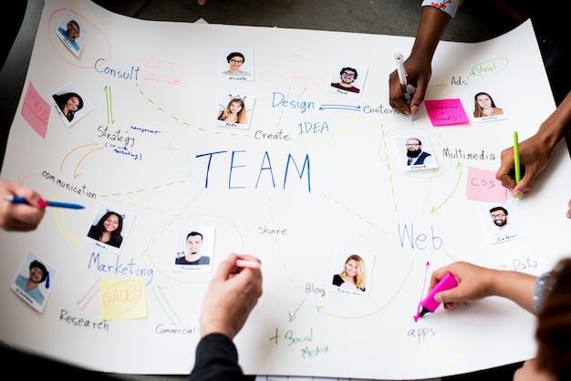Brainstorming-sitzung der gruppe von personen im raum