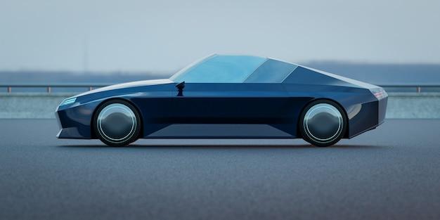 Brandless electric ev konzeptauto auf asphaltstraße. 3d-rendering mit meinem eigenen kreativen design.