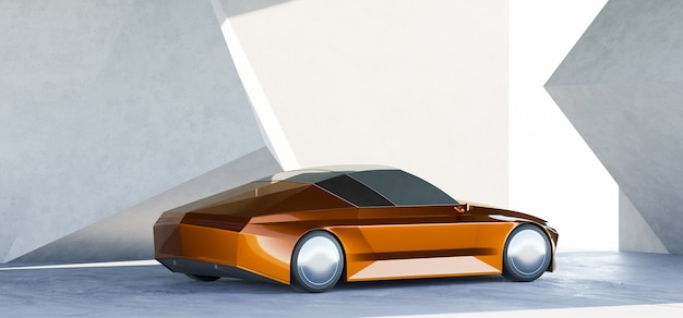Brandloser sportparkplatz in einer modernen geometrie-design-wandgarage. 3d-rendering mit meinem eigenen kreativen design.