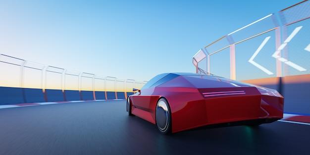 Brandloser sportwagen fährt auf der rennstrecke. 3d-rendering mit meinem eigenen kreativen design.