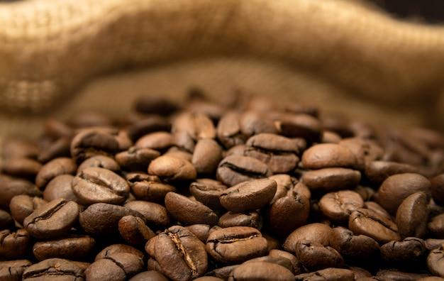 Brasilianische kaffeebohnen in makro