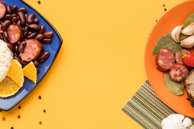 Brasilianischer essensrahmen flach liegen
