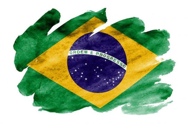 Brasilien-flagge wird in der flüssigen aquarellart dargestellt, die auf weiß lokalisiert wird
