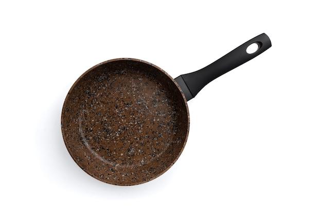 Braune antihaft-bratpfanne isoliert.
