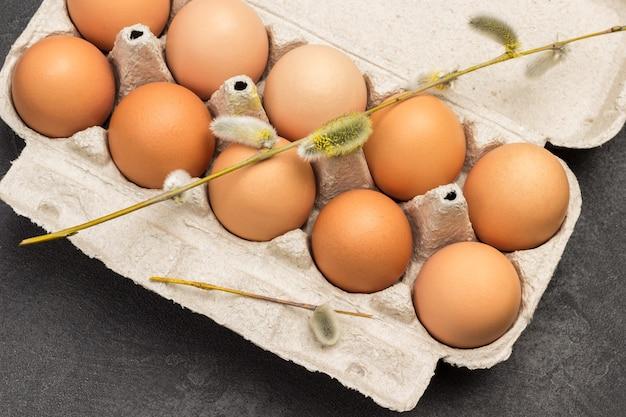 Braune hühnereier im kartonbehälter. weidenzweige auf eiern. flach liegen