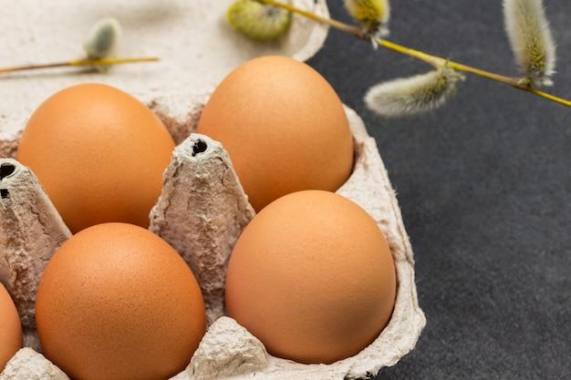 Braune hühnereier im kartonbehälter. zweige mit flauschigen knospen. nahansicht. draufsicht