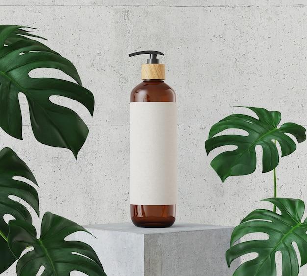 Braune kosmetikflasche auf weißem steinpodest