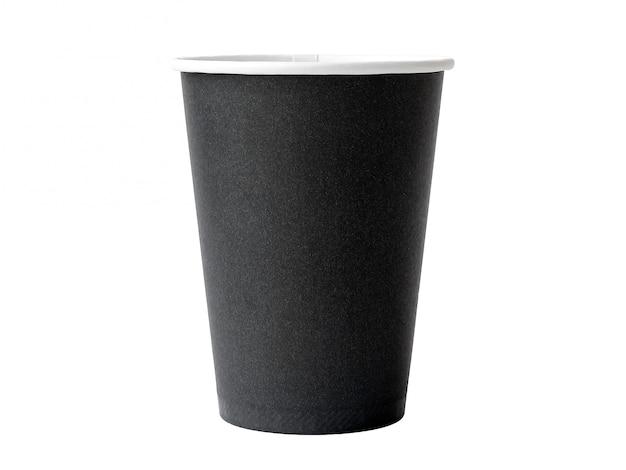 Braune papierkaffeetasse auf weiß