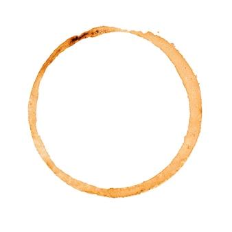 Brauner kaffeetassenfleck lokalisiert auf weißer oberfläche. draufsicht.