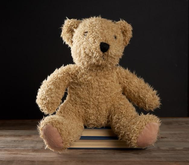 Brauner teddybär sitzt auf einem stapel bücher