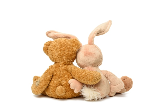 Brauner teddybär und niedliches kaninchen sitzen auf weißem isoliertem hintergrund, spielzeug sitzt mit dem rücken umarmend