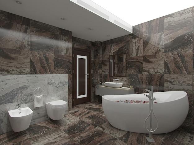 Braunes badezimmer der wiedergabe 3d