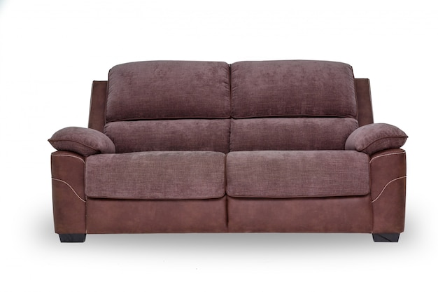 Braunes sofa auf weiß.