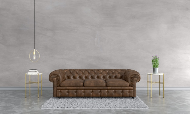 Braunes sofa im wohnzimmer