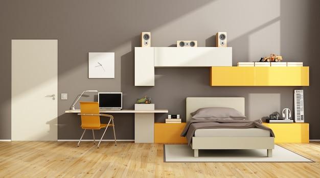 Braunes und orangefarbenes teenager-schlafzimmer