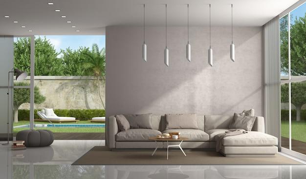 Braunes wohnzimmer einer modernen villa