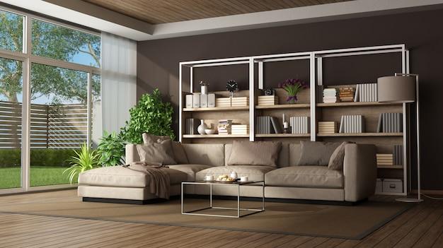 Braunes wohnzimmer mit sofa und bücherregal