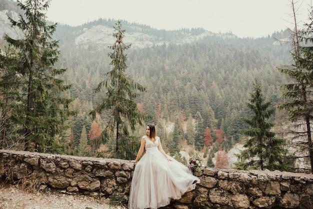 Braut in einem schönen kleid, das auf felsen mit hintergrund des grünen kiefernwaldes sitzt.