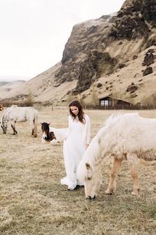Braut in einem weißen kleid in einem feld mit pferden ziel island hochzeit fotosession mit
