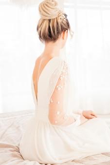 Braut mit hochzeitskleid