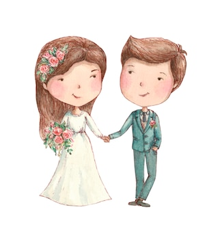 Braut und bräutigam, die mit blumen lächeln